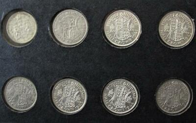 SEVEN .500 SILVER BRITISH HALF CROWN COINS & ONE 1962 CANADIAN FIFTY CENT COIN!