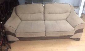 Fabulous 3 seater cream fabric sofa with brown leather seating