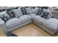 Grey Corner Sofa with Storage Footstool