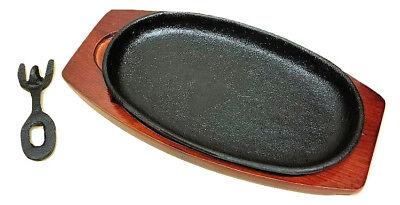 Cast Iron Steak Fajita Sizzling Platter Plate w/ wooden holder
