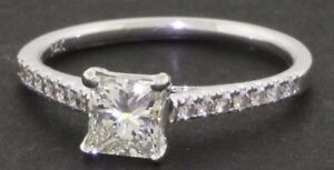 14 WHITE GOLD 0.71 ct DIAMOND ENGAGEMENT RING WITH GIA CERT