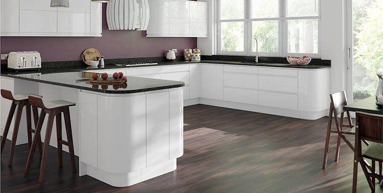 Modern handle less gloss kitchens with kitchen units for Cheap gloss kitchen units