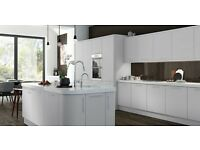 NEW White Gloss Kitchen with units, doors, handles and choice of Worktop. Glasgow.