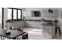 Modern Handle-Less Gloss Kitchens with kitchen units, doors, Worktop, Brand New Glasgow.