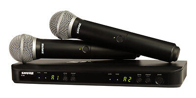 Shure BLX288/PG58 Dual Channel Combo Vocal Wireless Handheld Mic. System.