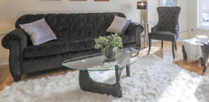 Noguchi Style Coffee Table Black Used For Staging Only.
