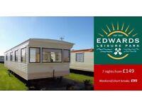 Edwards Leisure Park, 8 Berth 3 Bedroom Caravan for Hire