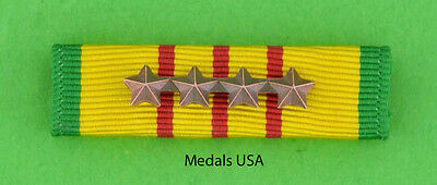 VIETNAM SERVICE MEDAL Mounted RIBBON BAR with 4 Bronze Campaign / Battle Stars