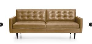 Petri Leather Mid Century Sofa - Crate&Barrel