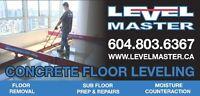 Concrete Floor Leveling Grinding & Repairs LEVEL MASTER