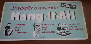 Heavy Tin Sign - Streamlite Samsonite, circa 1950's