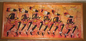 AFRICAN  BATIK OF SIX TRIBAL DANCERS WITH SOLID WOOD FRAME
