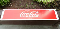 OLD VINTAGE COKE A COLA LONG METAL SIGN