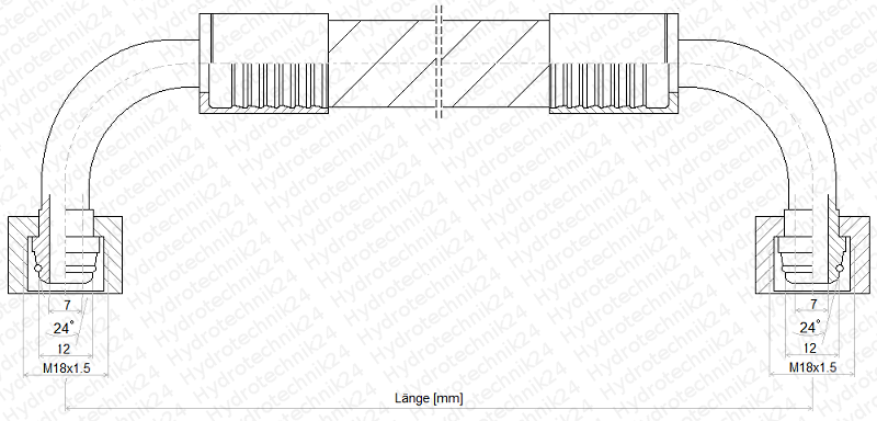 Hydraulic Hose DN10 1SN 12L Air-Vent 90 M18 Metric 200mm to 9000mm