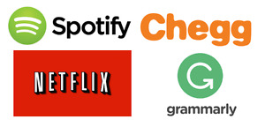 Netflix, Spotify, Crunchyroll, Chegg, Grammarly! And many more!