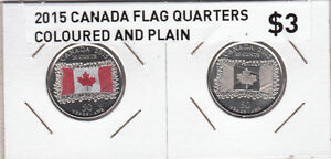 2015 Canada Flag Quarters - Coloured and Plain - Singles & Rolls Kitchener / Waterloo Kitchener Area image 3