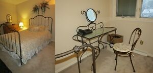Queen Bed and Makeup Vanity Table w/Mirror and Chair