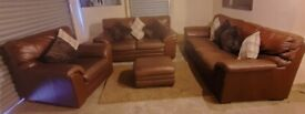 Furniture village real brown leather 3 seater 2 seater sofas matching chair and storage pouffee