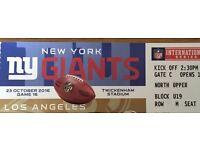 1x ticket for NY Giants vs LA Rams @ Twickenham, Sunday 23rd Oct
