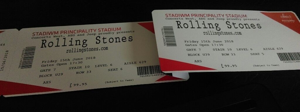 2 Rolling Stones Tickets for Cardiff Friday 15th. Face Value
