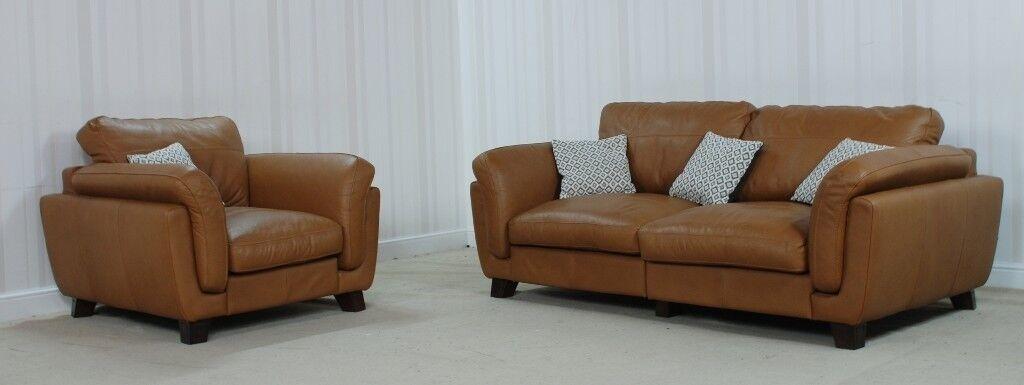 Designer Leather Brown Sofa (50) £999