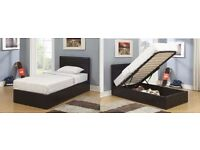 BEST OFFER SINGLE BLACK LEATHER BED WITH STORAGE Single/Small Double Bed
