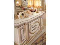 Cream & Gold Italian Console Table Dinning Room storage