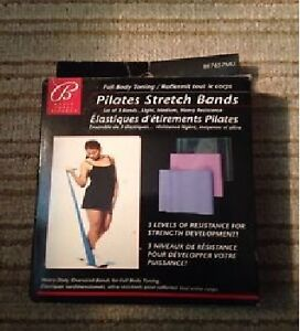 Bally Pilates Stretch Bands! In box, 3 different strengths! New!