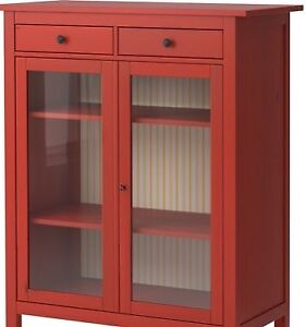 Ikea Hemnes Red Stain Pine Linen Cabinet 2 Drawers & Glass Doors