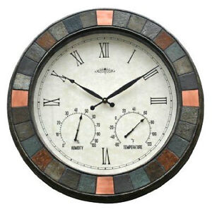 Gorgeous 24 Inch Outdoor Indoor Slate Wall Clock Amp