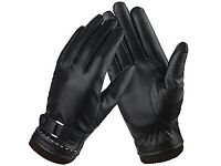 Brand new black Women's leather gloves with soft fleece lining