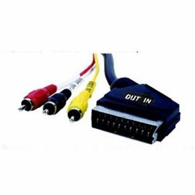 1.8 Scart to 3 x RCA Triple Phono AV Audio Video Lead Cable
