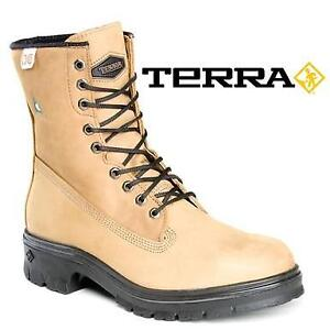 NEW TERRA PROTECTOR BOOTS MEN'S 7.5 207073164 BROWN WATERPROOF LEATHER SHOES