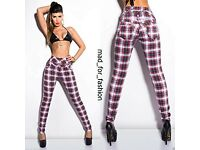 HIGH WAISTED TARTAN JEANS TROUSERS XS