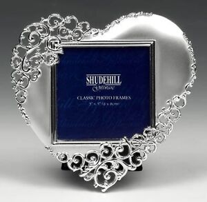 SHUDEHILL GIFTWARE SATIN SILVER LACE HEART PICTURE PHOTO FRAME - 3