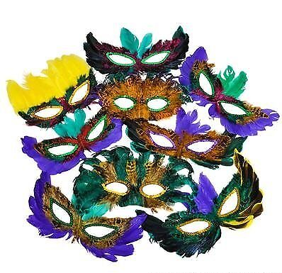 50 Fifty Pack of Mardi Gras Masquerade Party Feather Masks Assorted Colors ()