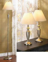 3PC Lamp Set Pole Floor Lamp & 2 Table Lamps Silvertone New