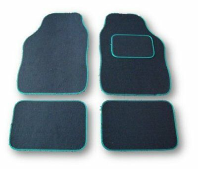 ISUZU ALL MODELS UNIVERSAL Car Floor Mats Black  GREEN TRIM
