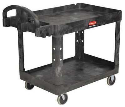 Rubbermaid Fg452088bla 500 Lb. Ergo Handle Lipped Shelf Black Utility Cart
