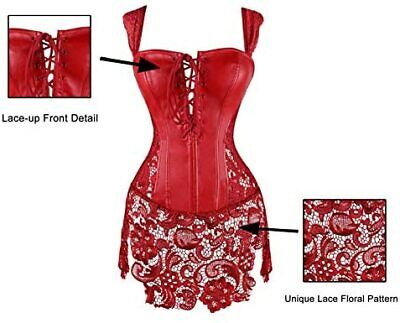 Kimring Women's Steampunk Gothic Sexy Faux Leather Shoulder Strap Corset Dress
