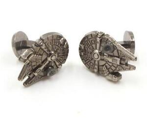 Antiqued Men's Millennium Falcon Stud Back Cufflinks