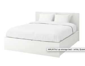 Ikea Queen Bedframe with 2 Storage drawers (white)