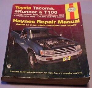 Manuel de réparation pour Toyota Tacoma,T-100, 4Runner