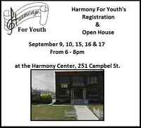 CLASS REGISTRATION and OPEN HOUSE for Harmony For Youth