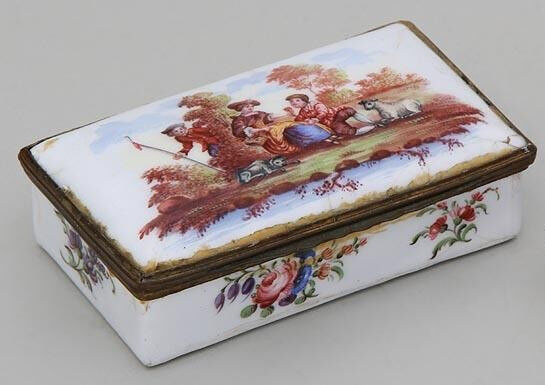 Antique Bilston Enamel Rectangular Box Gilt Mounts 18th century Country Scene