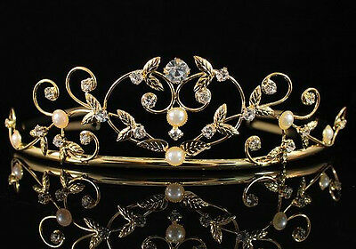 PEARL CLEAR AUSTRIAN RHINESTONE CRYSTAL TIARA CROWN BRIDAL WEDDING 01535GOLD