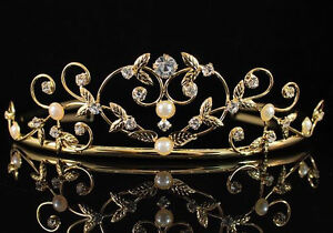 PEARL-CLEAR-AUSTRIAN-RHINESTONE-CRYSTAL-TIARA-CROWN-BRIDAL-WEDDING-01535GOLD