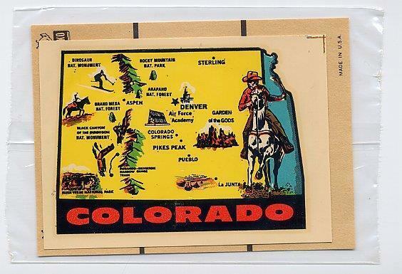 VINTAGE COLORADO STATE COWBOY SOUVENIR AUTO TRAVEL WATER DECAL IMPKO STICKER