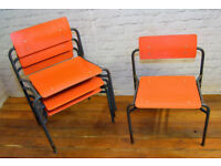 4 available R W Bamforth & Co stacking vintage chairs antique industrial seating cafe kitchen dining