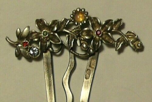 Hair Comb 88 Silver Imperial Russia Moscow 1902 Opal Ruby Emerald Garnet